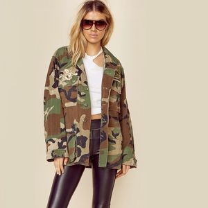 Planet Blue Good F*ckin Vibes Upcycled Army Jacket